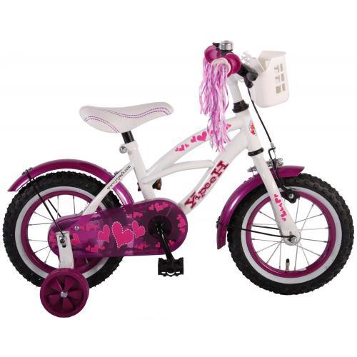 Volare Heart Cruiser Kinderfahrrad - Mädchen - 12 Zoll - Weiß Lila