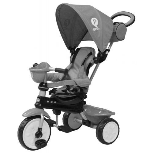 QPlay Dreirad Komfort 4 in 1 - Jungen und Mädchen - Grau