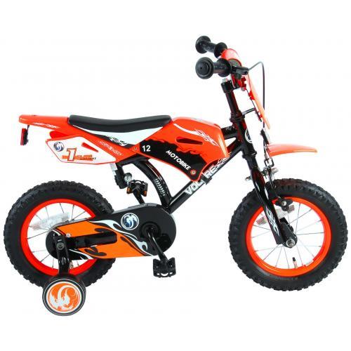 Volare Motorrad Kinderfahrrad - Jungen - 12 Zoll - Orange - 95% zusammengebaut