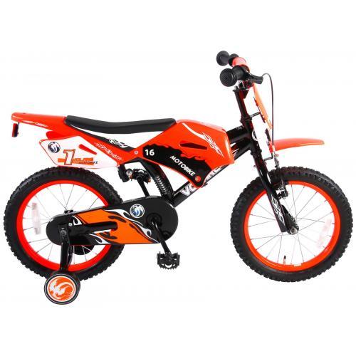 Volare Motorrad Kinderfahrrad - Jungen - 16 Zoll - Orange - 95% zusammengebaut
