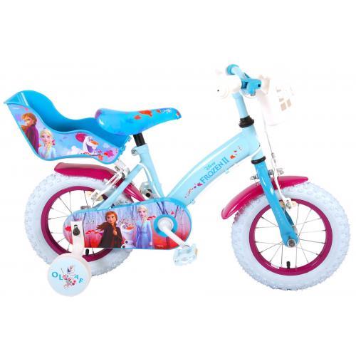 Disney Frozen 2 Kinderfahrrad - Mädchen - 12 Zoll - Blau / Lila - 2 Handbremsen
