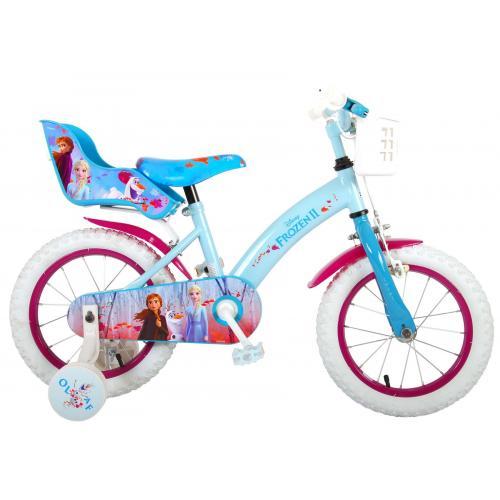 Disney Frozen 2 Kinderfahrrad - Mädchen - 14 Zoll - Blau / Lila