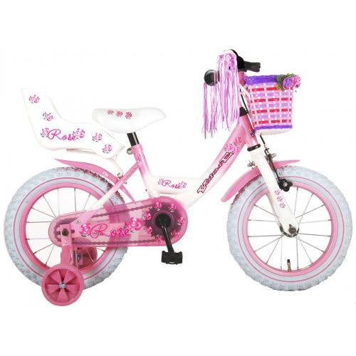 Volare Rose Kinderfahrrad - Mädchen - 14 Zoll - Pink Weiß - 95% zusammengebaut