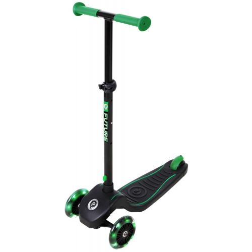 QPlay Future Roller - Jungen und Mädchen - Schwarz mit Grün - Led Lighting