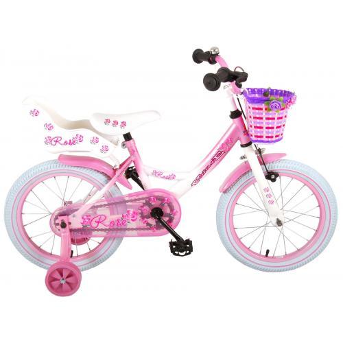 Volare Rose Kinderfahrrad - Mädchen - 16 Zoll - Pink Weiß - 95% zusammengebaut
