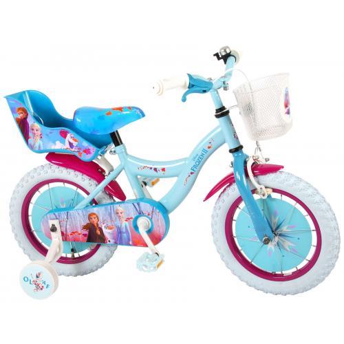 Disney Frozen 2 Kinderfahrrad - Mädchen - 14 Zoll - Blau / Lila - 95% zusammengebaut