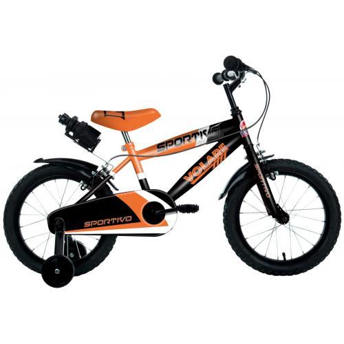 Volare Sportivo Kinderfahrrad - Jungen - 14 Zoll - Neon Orange Schwarz - Zwei Handbremsen