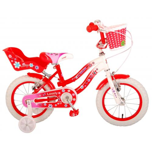 Volare Lovely Kinderfahrrad - Mädchen - 14 Zoll - Rot Weiß - 2 Handbremsen - 95% zusammengebaut