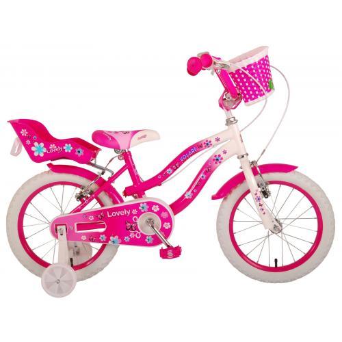 Volare Lovely Kinderfahrrad - Mädchen - 16 Zoll - Rosa Weiß - 2 Handbremsen - 95% zusammengebaut