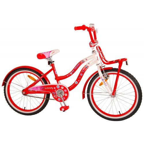 Volare Lovely Kinderfahrrad - Mädchen - 20 Zoll - Rot Weiß - 95% zusammengebaut