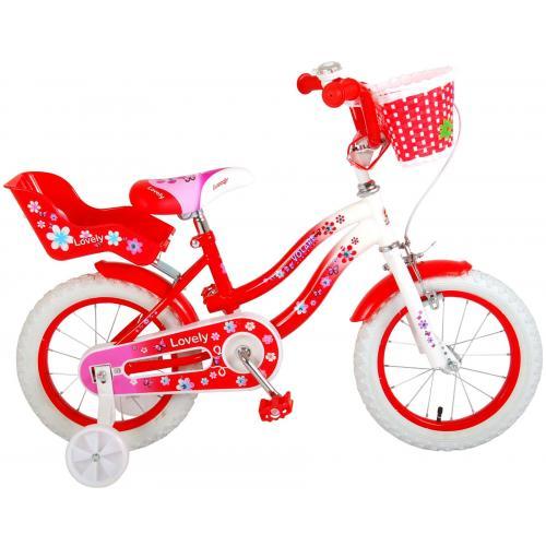 Volare Lovely Kinderfahrrad - Mädchen - 14 Zoll - Rot Weiß - 95% zusammengebaut