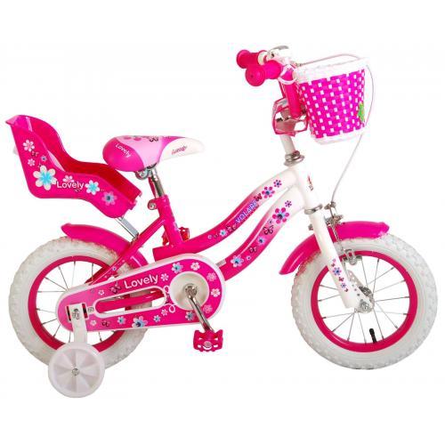 Volare Lovely Kinderfahrrad - Mädchen - 12 Zoll - Rosa Weiß - 95% zusammengebaut