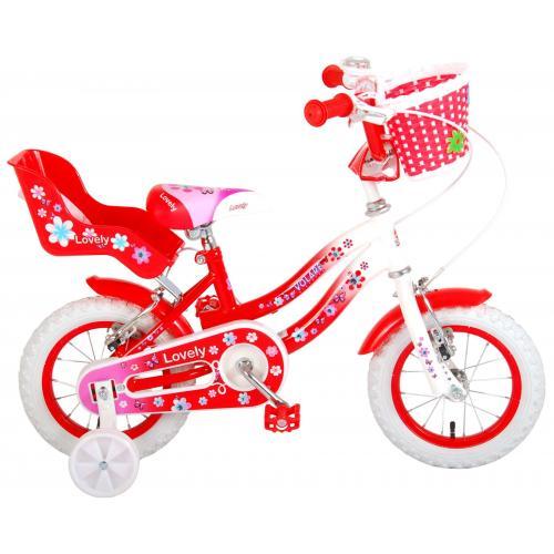 Volare Lovely Kinderfahrrad - Mädchen - 12 Zoll - Rot Weiß - 2 Handbremsen - 95% zusammengebaut