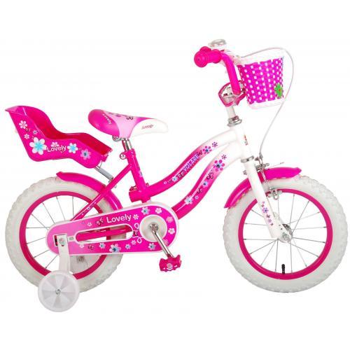 Volare Lovely Kinderfahrrad - Mädchen - 14 Zoll - Rosa Weiß - 95% zusammengebaut