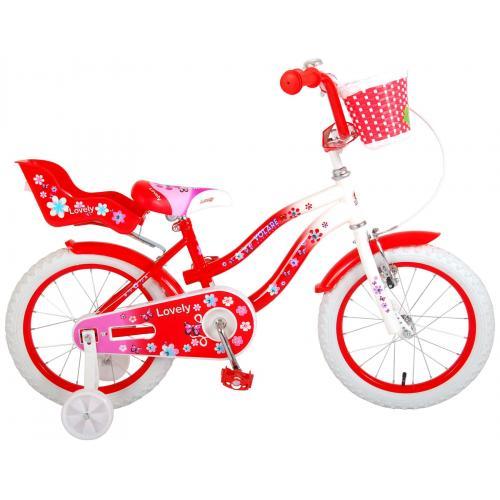 Volare Lovely Kinderfahrrad - Mädchen - 16 Zoll - Rot Weiß - 95% zusammengebaut