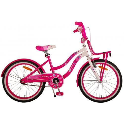 Volare Lovely Kinderfahrrad - Mädchen - 20 Zoll - Rosa Weiß - 95% zusammengebaut