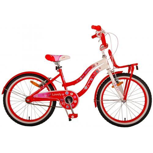 Volare Lovely Kinderfahrrad - Mädchen - 20 Zoll - Rot Weiß - 2 Handbremsen - 95% zusammengebaut