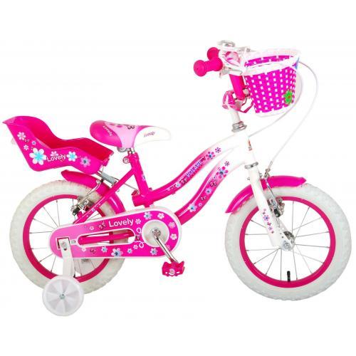 Volare Lovely Kinderfahrrad - Mädchen - 14 Zoll - Rosa Weiß - 2 Handbremsen - 95% zusammengebaut