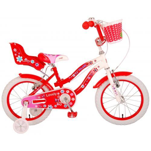 Volare Lovely Kinderfahrrad - Mädchen - 16 Zoll - Rot Weiß - 2 Handbremsen - 95% zusammengebaut