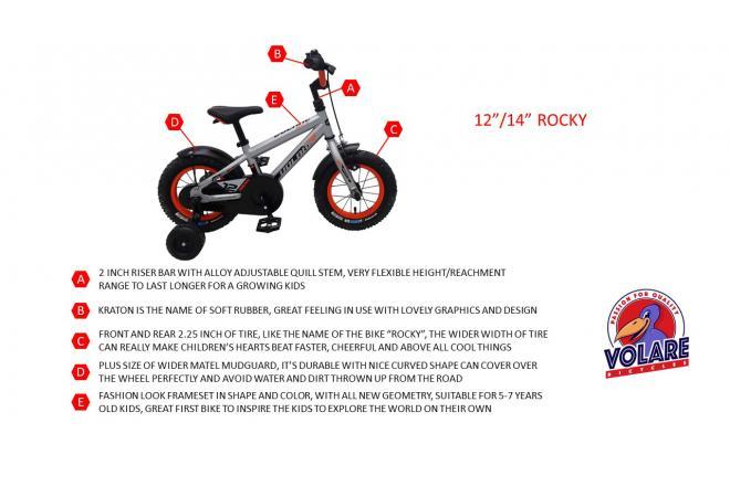 Volare Rocky Kinderfahrrad - Jungen - 14 Zoll - Silber
