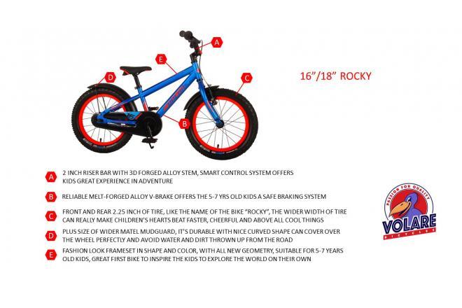 Volare Rocky Kinderfahrrad - 16 Zoll - Schwarz Blau - 95% zusammengebaut - Prime Collection