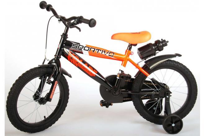 Volare Sportivo Kinderfahrrad - Jungen - 16 Zoll - Neon Orange Schwarz - 95% zusammengebaut